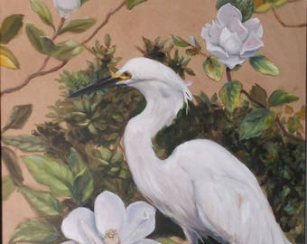Snowy Egret with Magnolia - 16 x 20 inch original oil painting by Martha Dodd