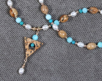 Gold-filled Picture Jasper, Peruvian Opal and Pearl Necklace