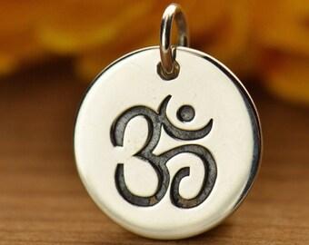 Silver Om Ohm Aum Disc Pendant Necklace Sterling Silver Charm - Yoga - Yoga Jewelry - Meditation - Spiritual 725