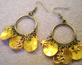 """""""Mother of Pearl yellow, OHM and Star"""" EARRINGS on support metal Bronze"""