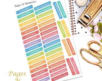 Canceled Rescheduled Planner Stickers/ Erin Condren/ Plum Paper/ Inkwell Press/ Happy Planner/ Planner Stickers  #077