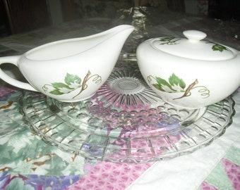 Vintage Grapevine Pattern Edwin M. Knowles China Cream and Sugar Set