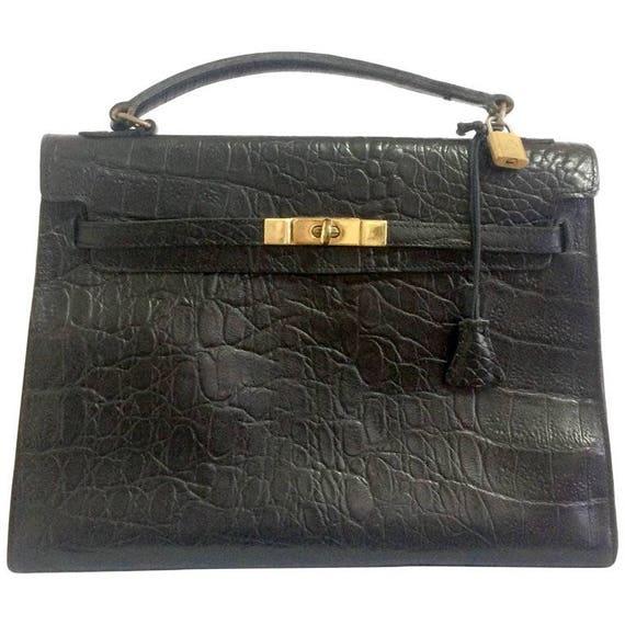 Mulberry Vintage Mulberry Croc Embossed Black Leather Kelly Bag.classic Bag By Roger Saul j9SLI
