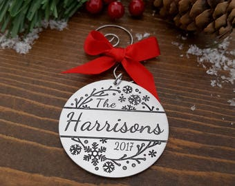 Personalized Family Name Ornament | Personalized Christmas Ornament | Family Ornament | Wedding Gift | Newlywed Ornament | Couples Ornament