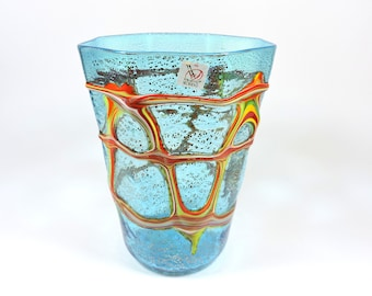 Murano glass vase in blue colour, signed Formentello with silver leaf, Murano glass vase Forrmentello with silver leaf