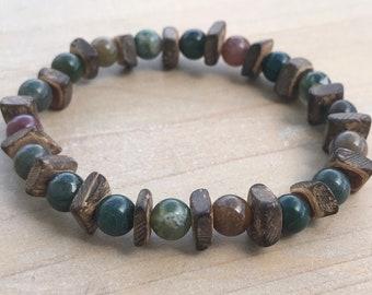 Men's Bracelet, Indian Agate Bracelet, Strength Bracelet, Coconut Bracelet, Yoga Bracelet, Bohemian, Mala Bracelet, Men's beaded Bracelet