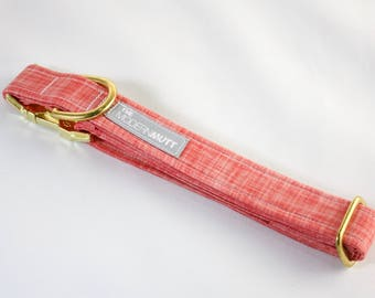 "Dog collar ""The Linen"" in coral"