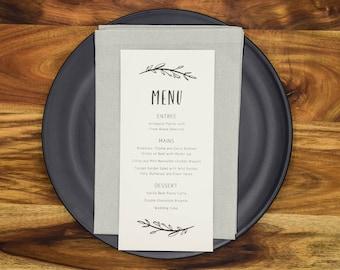 Wedding Menus Reception Menu Cards Personalised Wreath (WHITE)