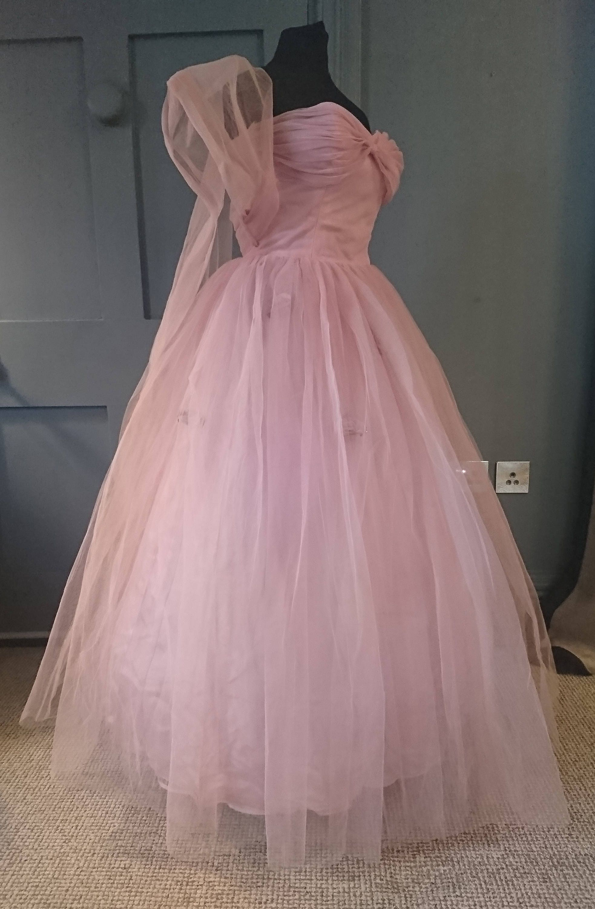 1950s Bubblegum Pink Tulle Evening Dress With Sash True