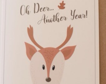 Deer birthday card etsy oh deer another year birthday greetings card bookmarktalkfo Image collections