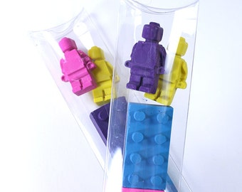 Girly colored Lego style bricks and men stick set by Scribblers Crayons