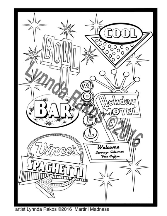 Items similar to Printable Coloring Page Las Vegas Neon Lights an ...