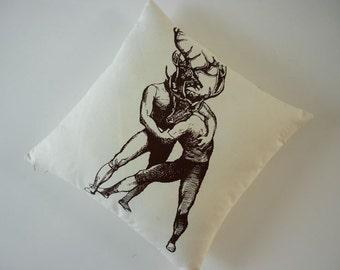 Brawling Bucks silk screened cotton canvas throw pillow 18 inch brown unbleached