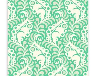 Lottie Da Featherleaf in Turquoise by Heather Bailey for Free Spirit Fabrics HB034- Half Yard or By the Yard