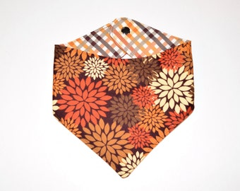 Fall Mums/Plaid, Reversible Dog Bandana, Snap Closure Bandana