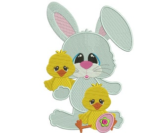 Bunny With Little Chicks Filled Machine Embroidery Digitized  Design Pattern - Instant Download - 4x4, 5x7, 6x10
