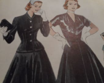 Vintage 1950's Butterick 6269 Dress and Jacket Ensemble Sewing Pattern Size 14 Bust 32