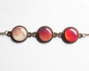 Red Moon Bracelet, Lunar Eclipse Bracelet, Moon Eclipse, Moon Eclipse Phases, Moon Phases, Solar System Bracelet, Planets Bracelet, Gifts