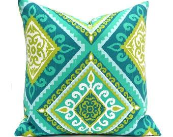 Outdoor Pillows Outdoor Pillow Covers Decorative Pillows ANY SIZE Pillow Cover Turquoise Pillow Terrasol Outdoor Spanish Tile Peacock