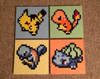 READY TO SHIP Pokemon 8-bit Pixel Pikachu Charmander Squirtle Bulbasaur Hand Painted Canvas Set of 4