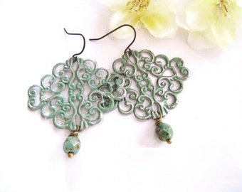 Green Filigree Earrings, Patina, Sage Green, Hippie, Moroccan Earrings, Bohemian Style, Redpeonycreations