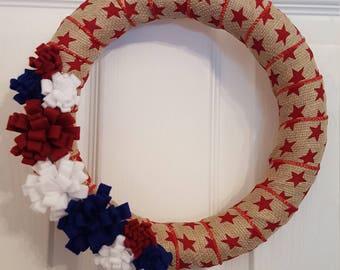 Patriotic wreath, USA wreath, Floral wreath, america wreath, USA, Felt flower wreath, red, white, and blue
