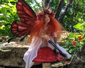 OOAK Fairy Art Doll Sculpture // Pippilotta // Spring // Gifts for her // Magic Faerie wings // Polymer clay