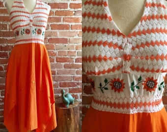 Vintage Orange Embroidered, Lace Accented, Handkerchief Hem Midi Halter Dress