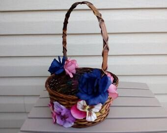 Flower Girl Basket, Rustic Basket, Wedding Basket, Wedding Accesory