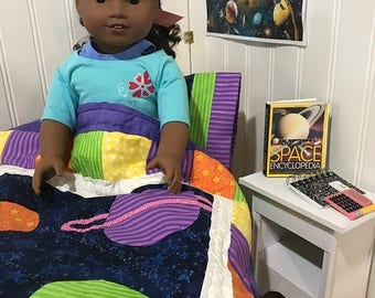 "Doll Quilt, American Girl Quilt, Doll Bedding, Doll Blanket, 18"" Doll Bedding, GOTY doll quilt, space doll quilt"