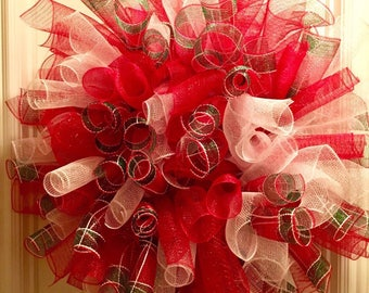 Deco Mesh Christmas Wreath, Red, White, and Green