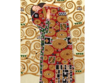 Klimt Embroidery Kit// Beaded Klimt Painting// Beaded Klimt Kit// Klimt Embrace Embroidery// Beaded Klimt Kit// Bead Embroidery Kit