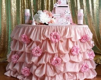 Ruffle Tablecloth, Blush Ruffled Table Cloth, Blush Ruched Table Cloth, Custom made