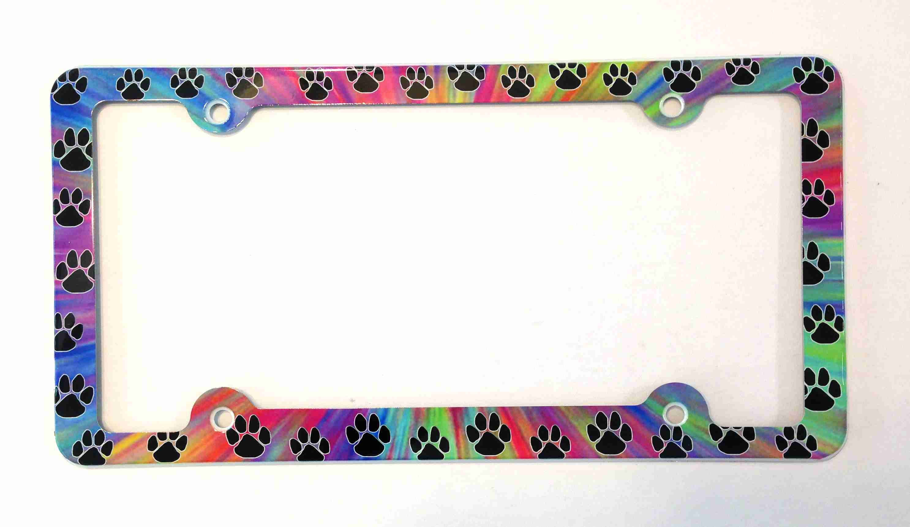 Paws License Plate Frame Paw Prints Decorative License Plate