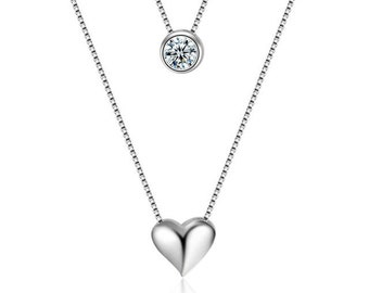 Beautiful necklace double heart and cubic zirconia 925 sterling silver 2.5 carats