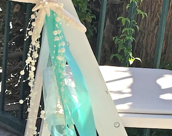 Beach Wedding - Set of 10 Chair Decorations with Starfish, Satin and Sheer Ribbons + Beaded Garland - 24 Ribbon Choices - coastal decor