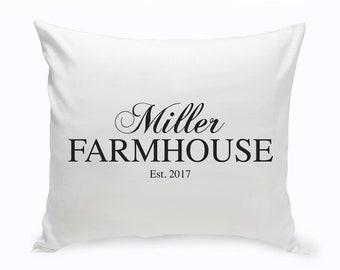 Personalized Family Farmhouse Throw Pillow, Modern Black on White Name Date Est. Decorative Pillow, Custom Name Pillow, Couples Name Pillow
