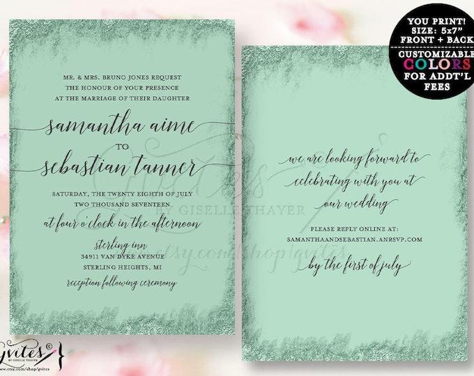 Mint and Silver Wedding invitation printable, calligraphy invites, glitter couture wedding, glitz and glam fashion designer invites.