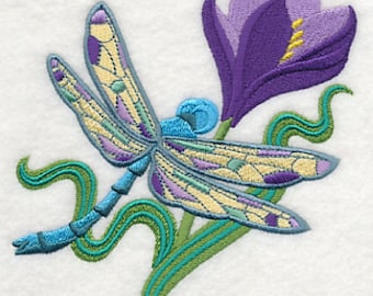 Dragonfly Spring Embroidered Flour Sack Towel, Dragonfly Towel, Spring Towel