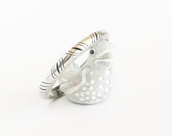 TAXCO Sterling Silver Shadowbox Bangle Bracelet