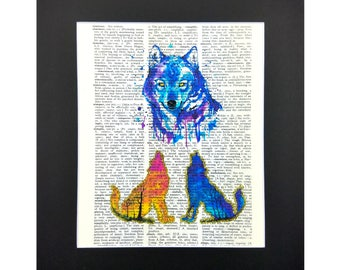 Wild Wolf Pack Family with Sparks of Glitter, Vintage Dictionary Page, Wall Decor