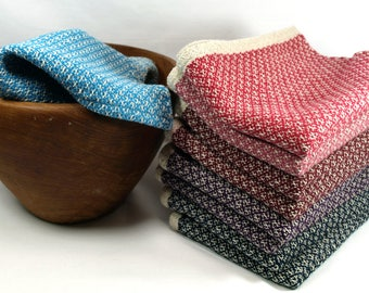 Handwoven Plaited Twill Tea Towels in Cotton and Linen Multiple Colors Broken Twill