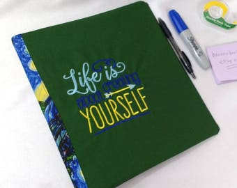 Fabric Covered 3 Ring Binder Van Gogh Starry Night Journal Notebook School Folder Stationery Embroidered Cover Recipe Book Organizer Green