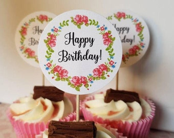 Birthday Cupcake Toppers - Vintage Rose Cupcake Toppers Happy Birthday Cupcake Picks - Floral Cupcake Topper - Birthday Flags - Cake Decor