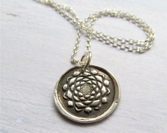 Silver Lotus Necklace, Lotus Bloom Pendant, Yoga Jewelry, Rustic Silver Necklace