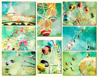Nursery art, ferris wheel, wall art, baby, circus, carousel wall decor by bomobob Fun Set 8 5x7 Photos