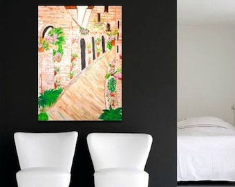 Fine Art - Abstract Oil Painting on Canvas of European Street for Home Decor