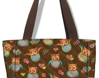 Quilted Owl Pattern Insulated Lunch Sack