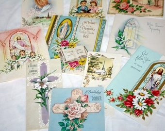 10 Vintage Greeting Cards Easter Sympathy Birthday Get Well Religious Christian