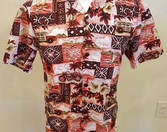 296- Royal Creations Aloha Hawaiian shirt Small made in Hawaii motorcycle woody outrigger